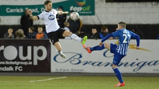 Richie Towell celebrates scoring Dundalk's second with Daryl Horgan