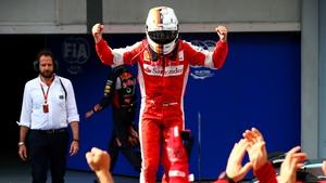 Sebastian Vettel celebrates his victory in Malaysia