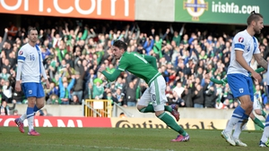 Kyle Lafferty bags the second of his brace for Northern Ireland