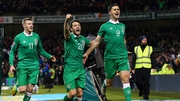 Shane Long celebrates after grabbing a late equaliser for Ireland