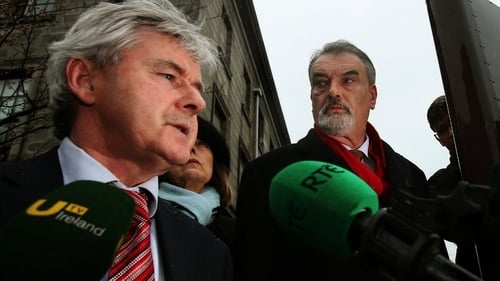 Ian Bailey's solicitor Frank Buttimer (L) said they were disappointed with today's verdict and needed time to consider