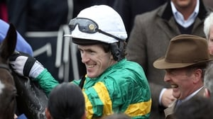 Jonjo O'Neill (R) hopes both he and Tony McCoy will be celebrating a Shutthefrontdoor win at Aintree