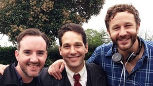 Pic: Rudd (centre) with Chris O'Dowd and Moone Boy co-writer Nick Vincent Murphy on set. Pic: @bigboyler