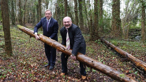 Enda Kenny with Centre Parcs CEO Mark Dalby in Co Longford earlier today