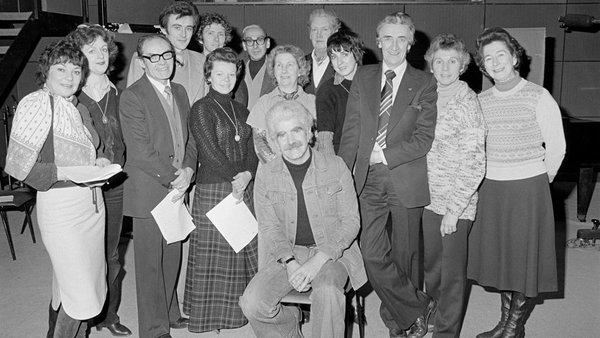 Author Lee Dunne (centre) with the cast of 'Harbour Hotel', a a long-running radio soap which was broadcast at lunchtimes on RTÉ Radio.