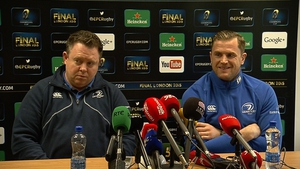 Matt O'Connor and captain Jamie Heaslip at the Leinster press conference in Dublin
