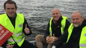 Jockey AP McCoy with Paul O'Connell and Brother Anthony on the Shannon clean-up
