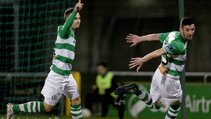 Mikey Drennan of Shamrock Rovers (l) celebrates scoring the opener for the Hoops