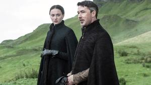 Sophie Turner as Sansa Stark and Aidan Gillen as Lord Baelish in Game of Thrones