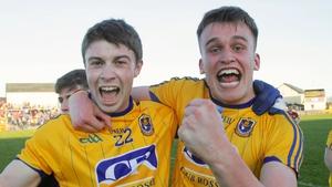 Roscommon's Kieran Kilcline and Enda Smith celebrate winning the Connacht U21 FC on Saturday