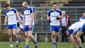Monaghan's Dick Clerkin leaves the field defected after defeat to Dublin in the Allianz Football League