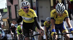 Sean McKenna celebrates overall victory in the Rás Mumhan