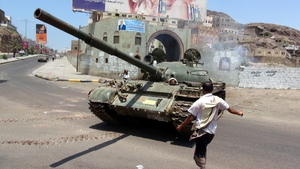 A tank being driven by militiamen loyal to President Hadi during clashes with Houthi fighters in Aden