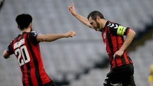 Bohemians striker Jason Byrne celebrates his first-half equaliser against Longford Town at Dalymount Park