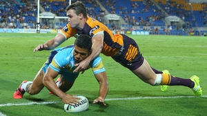 David Mead of the Titans scored a try during the round five NRL match between the Gold Coast Titans and the Brisbane Broncos at Cbus Super Stadium