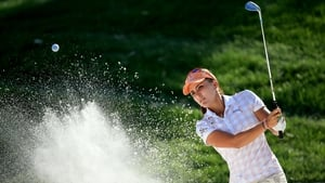 Lexi Thompson of the USA plays her second shot at the par 3, 17th hole during the second round of the ANA Inspiration on the Dinah Shore Tournament Course at Mission Hills Country Club