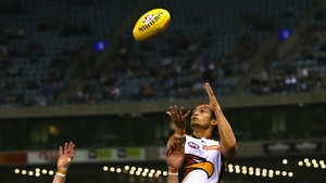 Sharrod Wellingham of the Eagles leaps to take a mark during the round one AFL match between the Western Bulldogs and the West Coast Eagles at Etihad Stadium