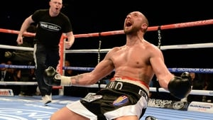 Jon-Lewis Dickinson of England reacts after beating Stephen Simmons of Scotland in their WBC international silver cruiserweight championship boxing contest at the Metro Arena