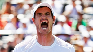 Andy Murray of Great Britain celebrates match point against Tomas Berdych of the Czech Republic during day 12 of the Miami Open at Crandon Park Tennis Centre