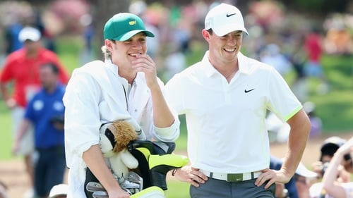 Niall Horan caddied for Rory McIlroy (R) in last year's Par 3