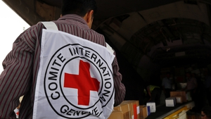 Emergency medical aid supplied by the ICRC and UNICEF is unloaded at Sanaa International Airport in Sana'a