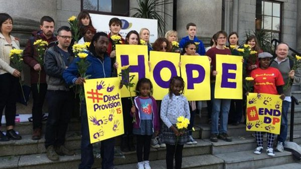 A protest at the Department of Justice to mark 15 years of direct provision