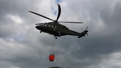 The Irish Air Corps is using 'bambi' buckets to carry water to the site (Pic: Irish Air Corps)