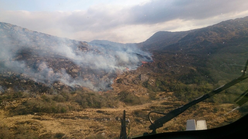 Firefighters deployed from Killarney and nearby towns Kenmare and Castleisland have been fighting the gorse fire (Pic: Irish Air Corps)