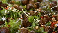 Lamb Koftas - I like to roll these into little balls the size of a large grape. They can, of course, be made bigger into burger or sausage shapes. Serve these strewn over a salad of purslane leaves with a yoghurt dressing.