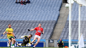 Cork's Brian Hurley finds the net against Donegal during their football league clash at Croke Park, Dublin