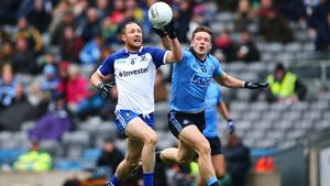 Monaghan's Vinny Corey and Paul Flynn of Dublin battle for the ball