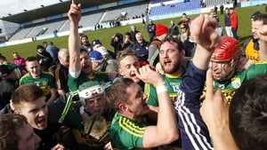 Kerry's hurlers celebrate promotion to Division 1B of the hurling league after defeating Antrim at Parnell Park, Dublin