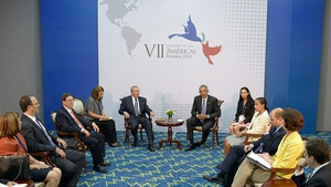 Barak Obama and Cuban President Raul Castro at the  Western Hemisphere summit in Panama on Saturday