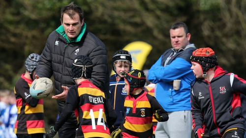 Leinster rugby player Rhys Ruddock coaching the next generation at a training camp this week