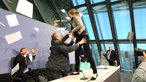 Mario Draghi's news conference was disrupted for a short time this afternoon