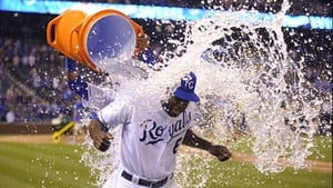Lorenzo Cain of the Kansas City Royals is doused with water after a 7-5 win over the Chicago White Sox at Kauffman Stadium in Kansas City