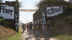 Geraint Thomas of Team SKY leads a group of riders during the 2015 Paris - Roubaix cycle race from Compiegne to Roubaix