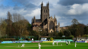 Action in front of Worcester Cathedral during day one of the LV County Championship Division One match between Worcestershire and Yorkshire