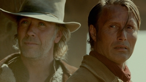 Mikael Persbrandt as Peter and Mads Mikkelsen as his brother Jon in The Salvation.