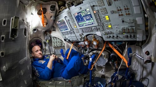 A NASA astronaut is seen inside a Soyuz simulator at the Gagarin Cosmonaut Training Centre in Star City, Russia