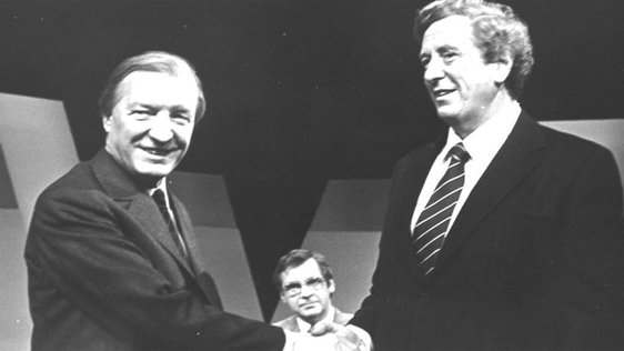 "The ""Today Tonight - Election Debate"" presented by Brian Farrell. Charles Haughey, Fianna Fail Party Leader (L) shakes hands with Garret Fitzgerald, Fine Gael Party Leader (R)  © RTÉ Stills Library 0240/039"