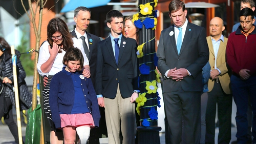 The Richard family are seen at the  two year anniversary of the Boston Marathon bombings on 15 April