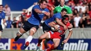 Leinster's Rhys Ruddock and Rob Kearney tackle Toulon's Matt Giteau in last year's quarter-final