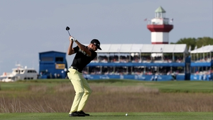Troy Merritt tees off on the 18th hole during the third round of the RBC Heritage at Harbour Town Golf Links on Hilton Head Island in South Carolina