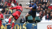Toulon's Bryan Habana and Leinster's Fergus McFadden contest a high ball