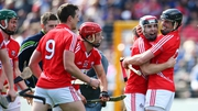 Cork's Paudie O'Sullivan and Shane O'Neill celebrate after the game