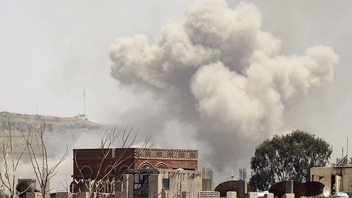 Smoke rises east of the Yemeni capital, Sanaa, following an alleged air strike by the Saudi-led alliance