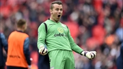 Shay Given celebrates Aston Villa's 2-1 FA Cup semi-final win against Liverpool at Wembley
