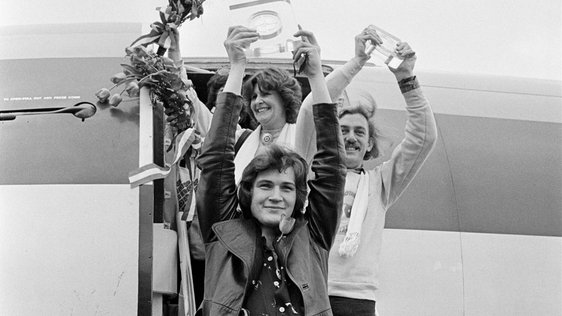 Johnny Logan and Shay Healy at Dublin Airport (1980)