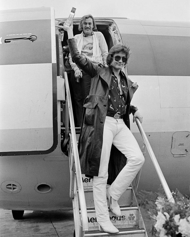 Johnny Logan and Shay Healy at Dublin Airport (1980)